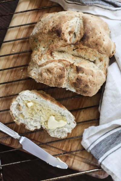 Easy oregano & garlic bread (done in 1 hour, no waiting!)