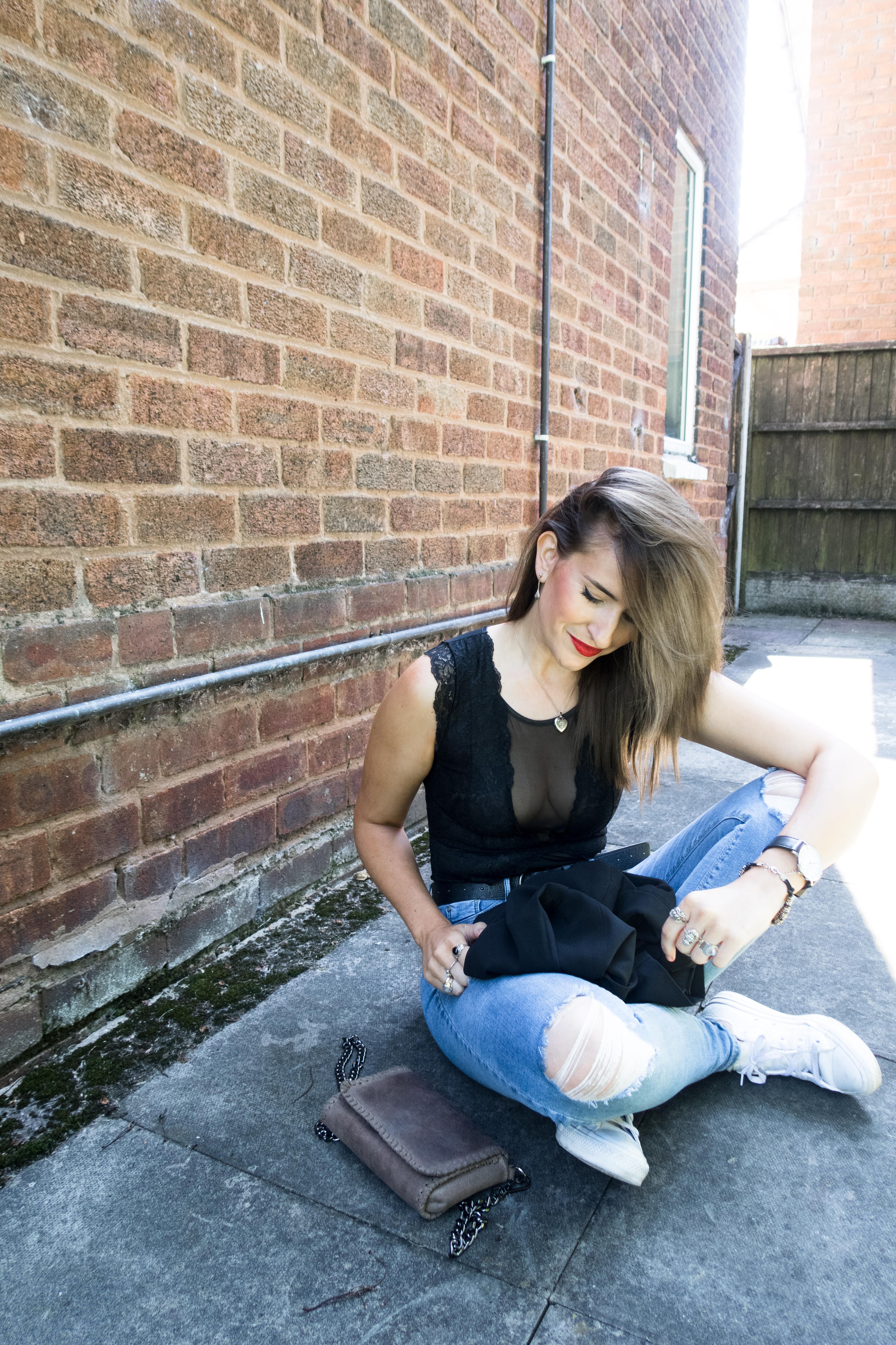 How to wear bodysuit: Primark black lace bodysuit