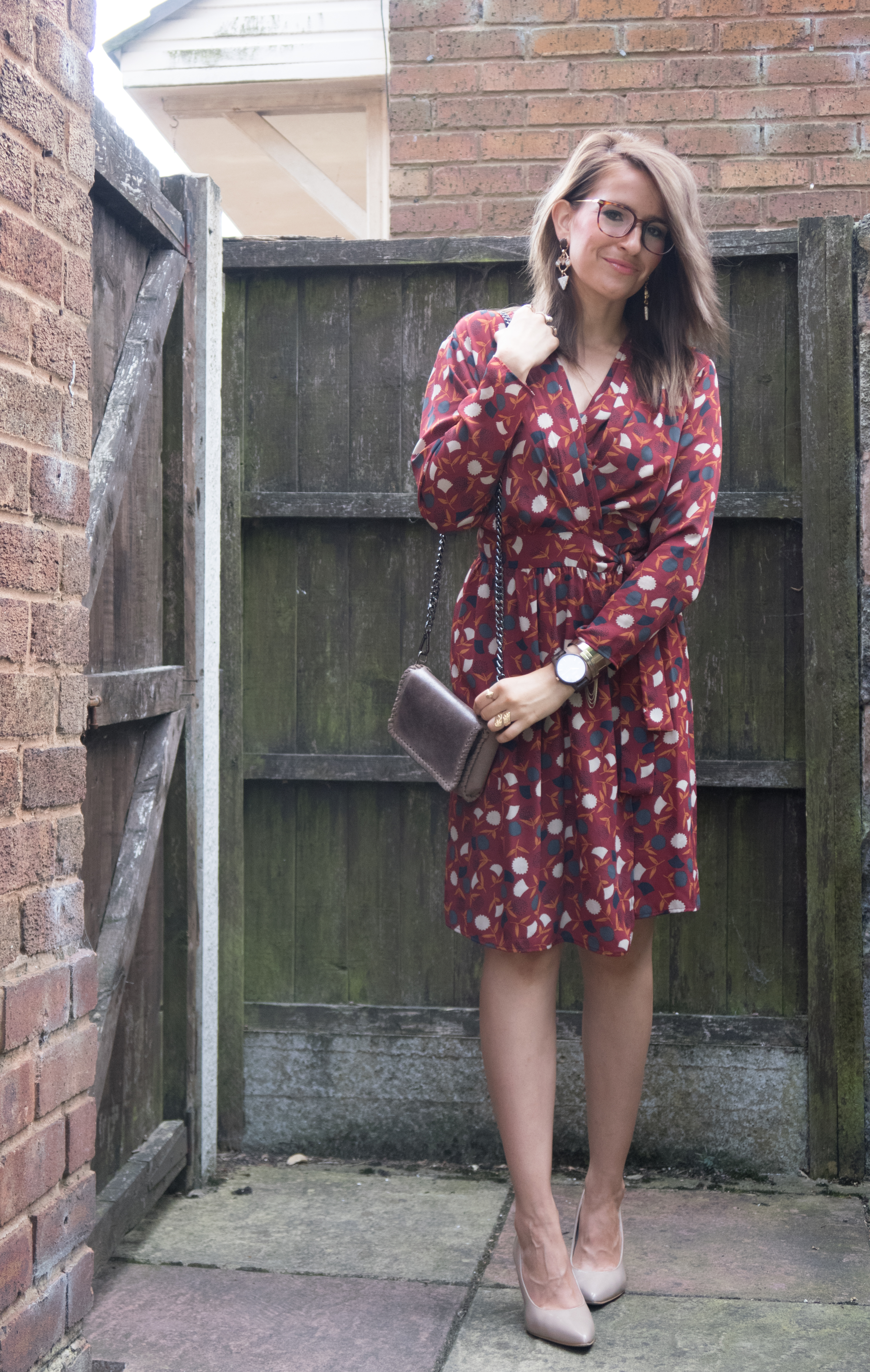 Mango wrap dress jord wooden watch outfit