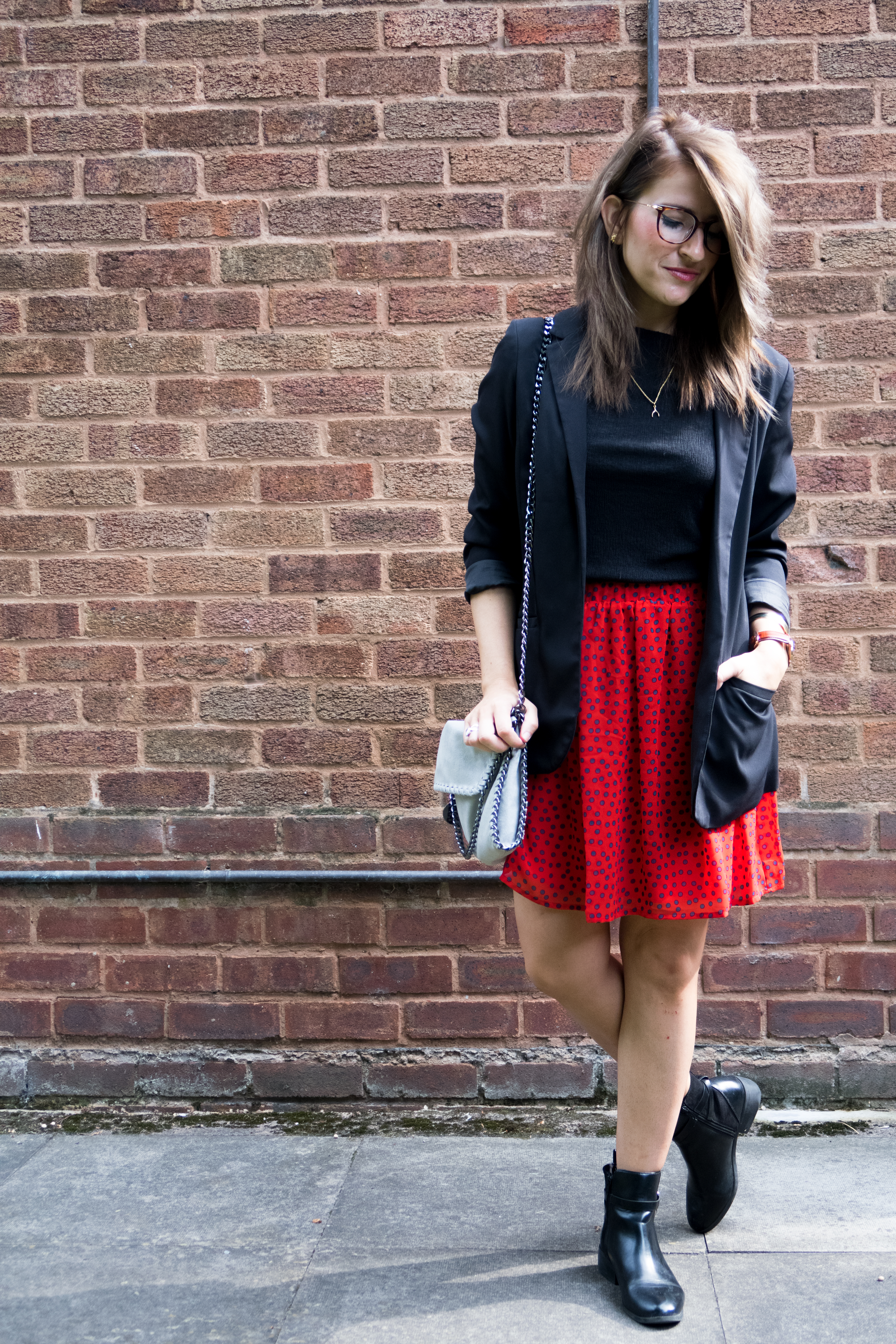 Polka dot Sisley skirt & DW watch
